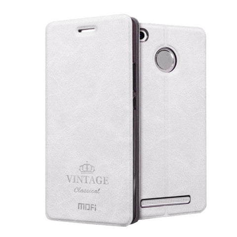 MOFI VINTAGE Xiaomi Redmi 3 Pro Crazy Horse Texture Horizontal Flip Leather Case with Card Slot & Holder(White)
