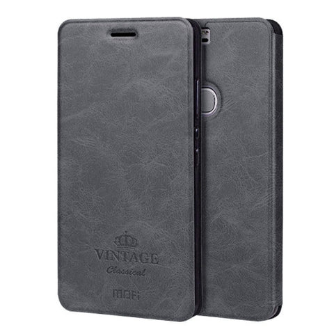 MOFI VINTAGE Huawei Honor V8 Crazy Horse Texture Horizontal Flip Leather Case with Card Slot & Holder(Black)