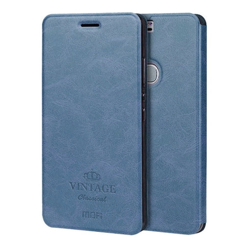 MOFI VINTAGE Huawei Honor V8 Crazy Horse Texture Horizontal Flip Leather Case with Card Slot & Holder(Dark Blue)