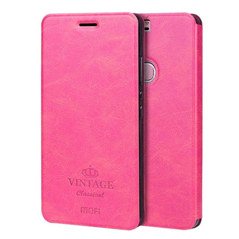 MOFI VINTAGE Huawei Honor V8 Crazy Horse Texture Horizontal Flip Leather Case with Card Slot & Holder(Magenta)