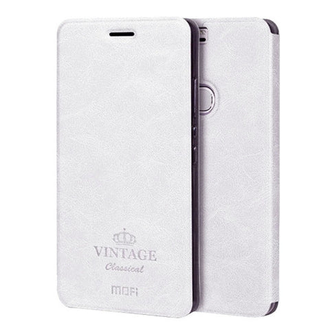 MOFI VINTAGE Huawei Honor V8 Crazy Horse Texture Horizontal Flip Leather Case with Card Slot & Holder(White)