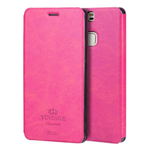 MOFI VINTAGE Huawei P9 Plus Crazy Horse Texture Horizontal Flip Leather Case with Card Slot & Holder(Magenta)