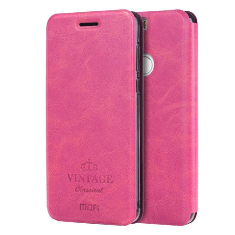 MOFI VINTAGE Huawei Honor 8 Crazy Horse Texture Horizontal Flip Leather Case with Card Slot & Holder(Magenta)