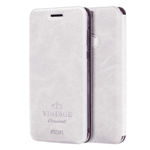 MOFI VINTAGE Huawei Honor 8 Crazy Horse Texture Horizontal Flip Leather Case with Card Slot & Holder(White)