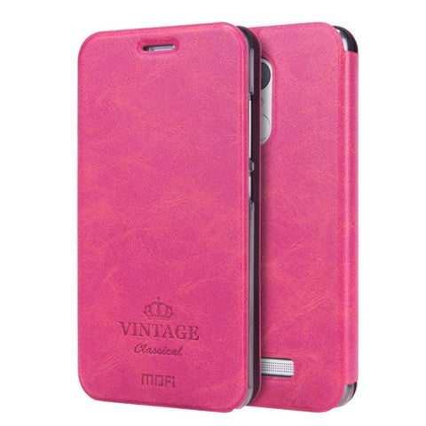 MOFI VINTAGE Xiaomi Redmi Note 3 Crazy Horse Texture Horizontal Flip Leather Case with Card Slot & Holder & Sleep / Wake-up Function(Magenta)
