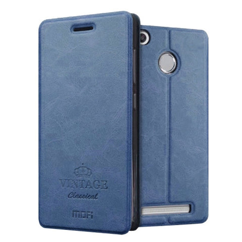 MOFI VINTAGE Xiaomi Redmi 3X Crazy Horse Texture Horizontal Flip Leather Case with Card Slot & Holder(Dark Blue)