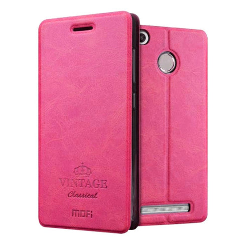 MOFI VINTAGE Xiaomi Redmi 3X Crazy Horse Texture Horizontal Flip Leather Case with Card Slot & Holder(Magenta)