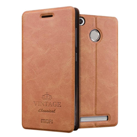 MOFI VINTAGE Xiaomi Redmi 3X Crazy Horse Texture Horizontal Flip Leather Case with Card Slot & Holder(Brown)