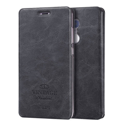 MOFI VINTAGE Xiaomi Redmi Note 4 Crazy Horse Texture Horizontal Flip Leather Case with Card Slot & Holder & Sleep / Wake-up Function(Black)