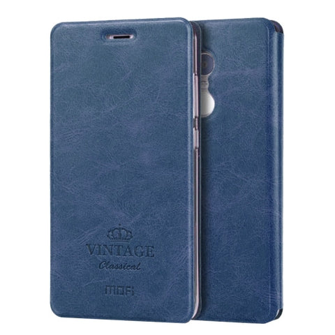 MOFI VINTAGE Xiaomi Redmi Note 4 Crazy Horse Texture Horizontal Flip Leather Case with Card Slot & Holder & Sleep / Wake-up Function(Dark Blue)