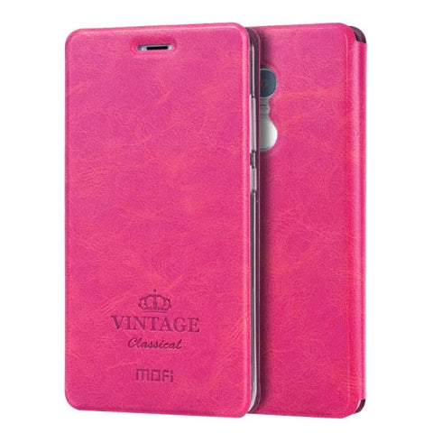 MOFI VINTAGE Xiaomi Redmi Note 4 Crazy Horse Texture Horizontal Flip Leather Case with Card Slot & Holder & Sleep / Wake-up Function(Magenta)