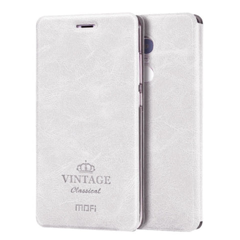 MOFI VINTAGE Xiaomi Redmi Note 4 Crazy Horse Texture Horizontal Flip Leather Case with Card Slot & Holder & Sleep / Wake-up Function(White)