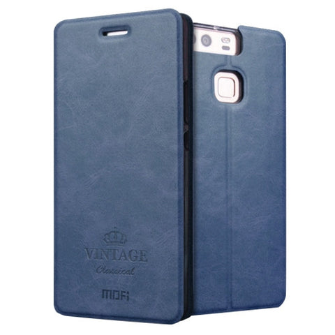 MOFI VINTAGE Huawei P9 Crazy Horse Texture Horizontal Flip Leather Case with Card Slot & Holder & Sleep / Wake-up Function(Dark Blue)