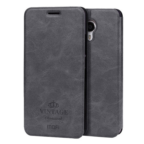 MOFI VINTAGE Meizu M3 Note Crazy Horse Texture Horizontal Flip Leather Case with Card Slot & Holder(Black)