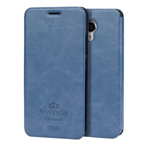 MOFI VINTAGE Meizu M3 Note Crazy Horse Texture Horizontal Flip Leather Case with Card Slot & Holder(Dark Blue)