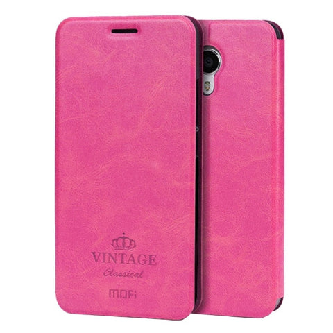 MOFI VINTAGE Meizu M3 Note Crazy Horse Texture Horizontal Flip Leather Case with Card Slot & Holder(Magenta)