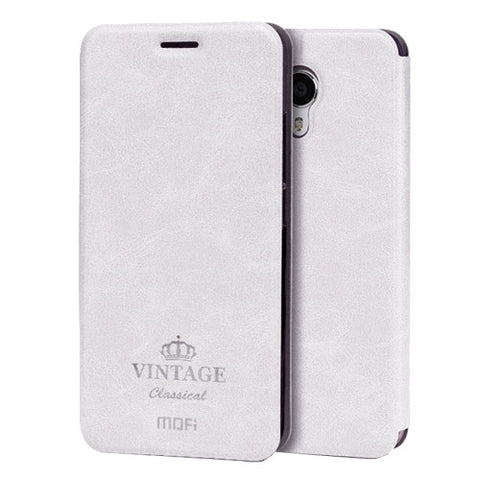 MOFI VINTAGE Meizu M3 Note Crazy Horse Texture Horizontal Flip Leather Case with Card Slot & Holder(White)