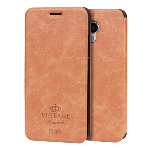 MOFI VINTAGE Meizu M3 Note Crazy Horse Texture Horizontal Flip Leather Case with Card Slot & Holder(Brown)