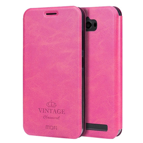 MOFI VINTAGE for Asus ZenFone Max / ZC550KL Crazy Horse Texture Horizontal Flip Leather Case with Card Slot & Holder(Magenta)