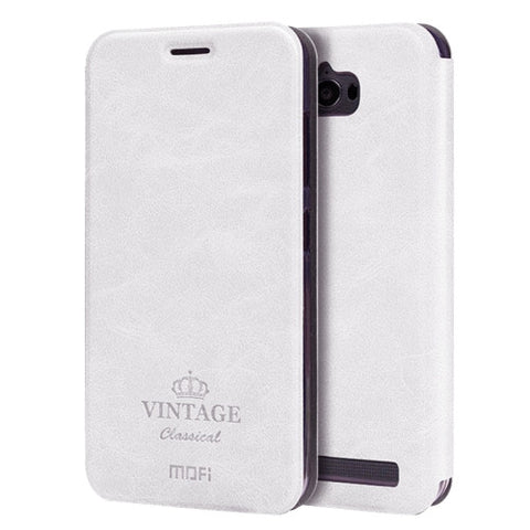 MOFI VINTAGE for Asus ZenFone Max / ZC550KL Crazy Horse Texture Horizontal Flip Leather Case with Card Slot & Holder(White)