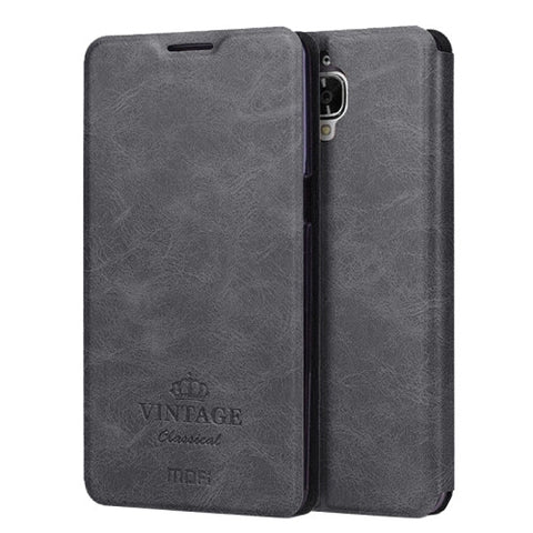 MOFI VINTAGE OnePlus Three / A3000 Crazy Horse Texture Horizontal Flip Leather Case with Card Slot & Holder(Black)