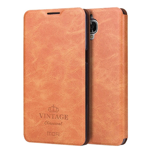 MOFI VINTAGE OnePlus Three / A3000 Crazy Horse Texture Horizontal Flip Leather Case with Card Slot & Holder(Brown)