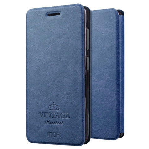 MOFI VINTAGE for Lenovo ZUK Z2 Crazy Horse Texture Horizontal Flip Leather Case with Card Slot & Holder(Dark Blue)