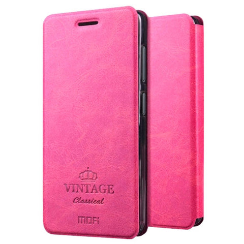 MOFI VINTAGE for Lenovo ZUK Z2 Crazy Horse Texture Horizontal Flip Leather Case with Card Slot & Holder(Magenta)