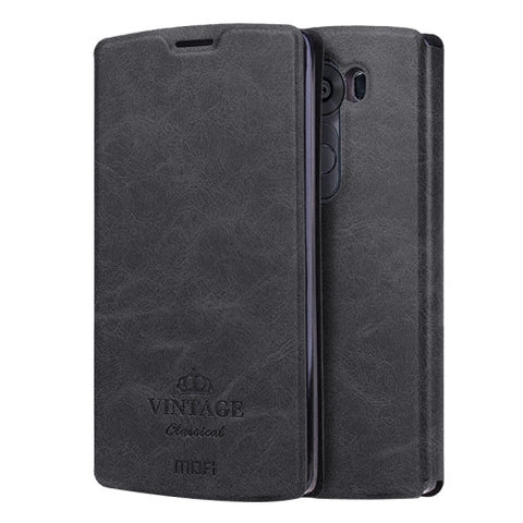 MOFI VINTAGE for LG V10 Crazy Horse Texture Horizontal Flip Leather Case with Card Slot & Holder(Black)