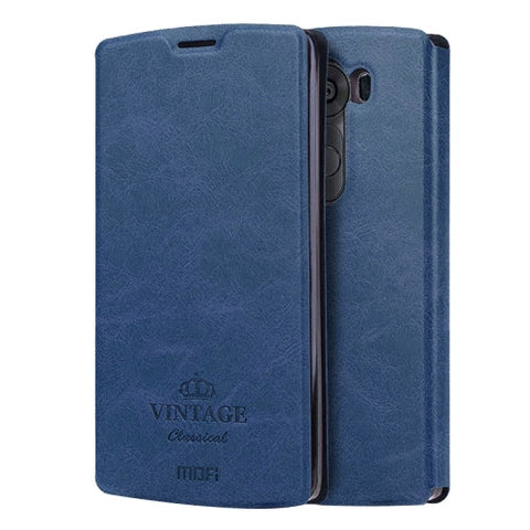 MOFI VINTAGE for LG V10 Crazy Horse Texture Horizontal Flip Leather Case with Card Slot & Holder(Dark Blue)