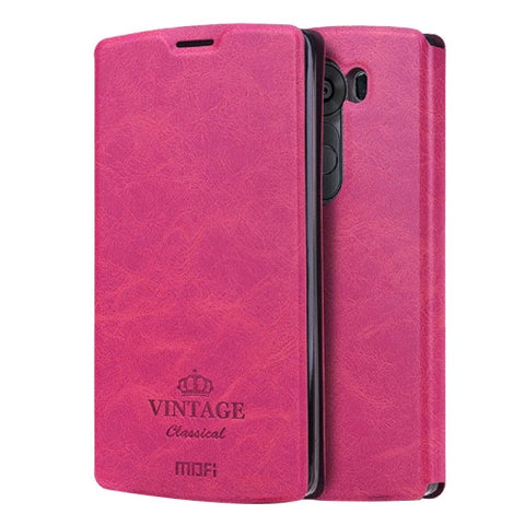 MOFI VINTAGE for LG V10 Crazy Horse Texture Horizontal Flip Leather Case with Card Slot & Holder(Magenta)