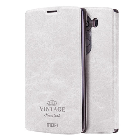 MOFI VINTAGE for LG V10 Crazy Horse Texture Horizontal Flip Leather Case with Card Slot & Holder(White)