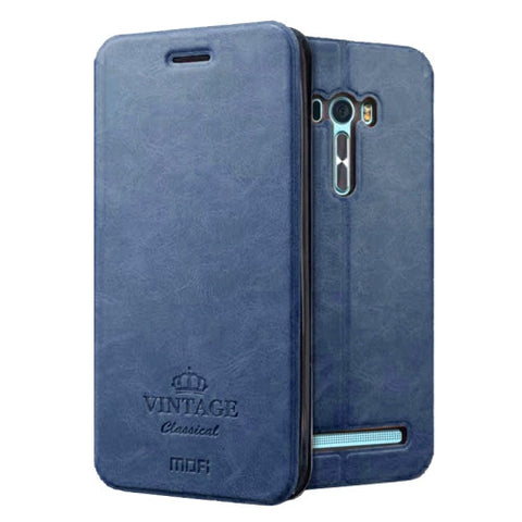 MOFI VINTAGE for Asus Zenfone Selfie / ZD551KL Crazy Horse Texture Horizontal Flip Leather Case with Card Slot & Holder & Sleep / Wake-up Function(Dark Blue)
