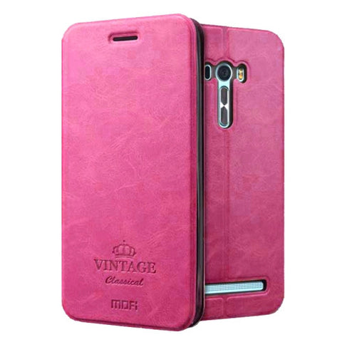 MOFI VINTAGE for Asus Zenfone Selfie / ZD551KL Crazy Horse Texture Horizontal Flip Leather Case with Card Slot & Holder & Sleep / Wake-up Function(Magenta)
