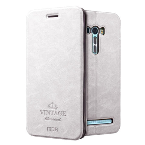 MOFI VINTAGE for Asus Zenfone Selfie / ZD551KL Crazy Horse Texture Horizontal Flip Leather Case with Card Slot & Holder & Sleep / Wake-up Function(White)