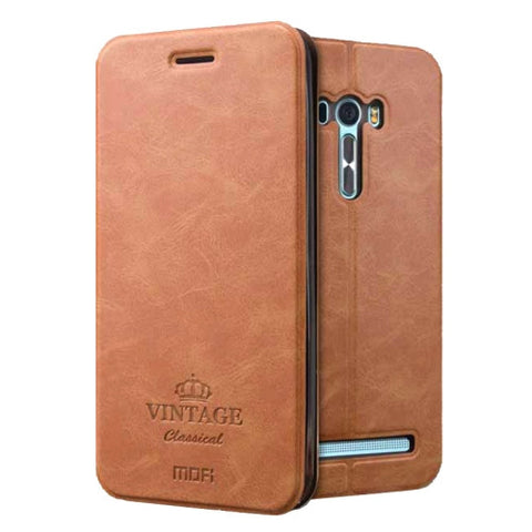MOFI VINTAGE for Asus Zenfone Selfie / ZD551KL Crazy Horse Texture Horizontal Flip Leather Case with Card Slot & Holder & Sleep / Wake-up Function(Brown)