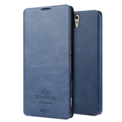 MOFI VINTAGE for Sony Xperia C5 Ultra Crazy Horse Texture Horizontal Flip Leather Case with Card Slot & Holder(Dark Blue)