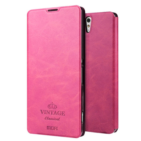 MOFI VINTAGE for Sony Xperia C5 Ultra Crazy Horse Texture Horizontal Flip Leather Case with Card Slot & Holder(Magenta)
