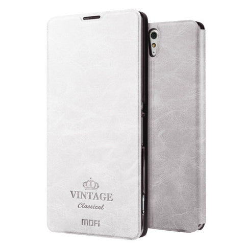 MOFI VINTAGE for Sony Xperia C5 Ultra Crazy Horse Texture Horizontal Flip Leather Case with Card Slot & Holder(White)