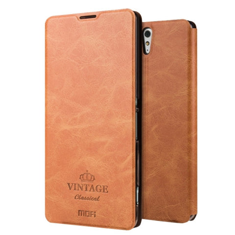 MOFI VINTAGE for Sony Xperia C5 Ultra Crazy Horse Texture Horizontal Flip Leather Case with Card Slot & Holder(Brown)