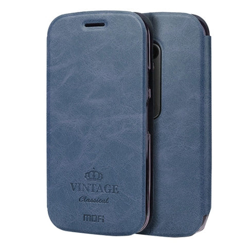 MOFI VINTAGE for Motorola Moto G (3rd gen) Crazy Horse Texture Horizontal Flip Leather Case with Card Slot & Holder(Dark Blue)