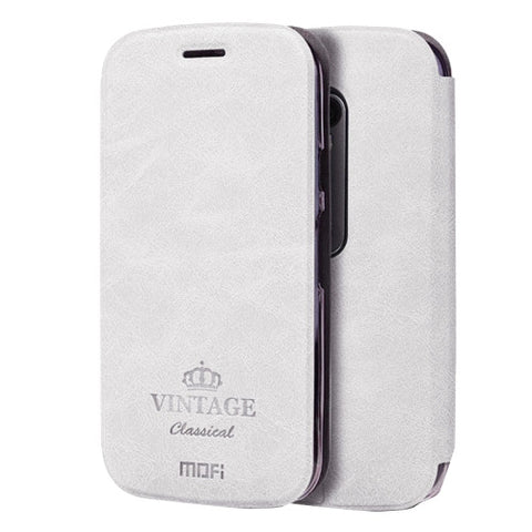 MOFI VINTAGE for Motorola Moto G (3rd gen) Crazy Horse Texture Horizontal Flip Leather Case with Card Slot & Holder(White)