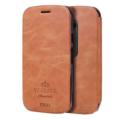 MOFI VINTAGE for Motorola Moto G (3rd gen) Crazy Horse Texture Horizontal Flip Leather Case with Card Slot & Holder(Brown)