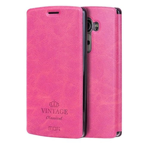 MOFI VINTAGE for LG G4 Crazy Horse Texture Horizontal Flip Leather Case with Card Slot & Holder(Magenta)