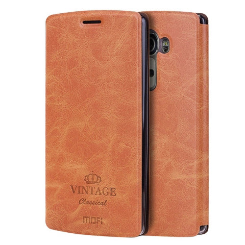 MOFI VINTAGE for LG G4 Crazy Horse Texture Horizontal Flip Leather Case with Card Slot & Holder(Brown)