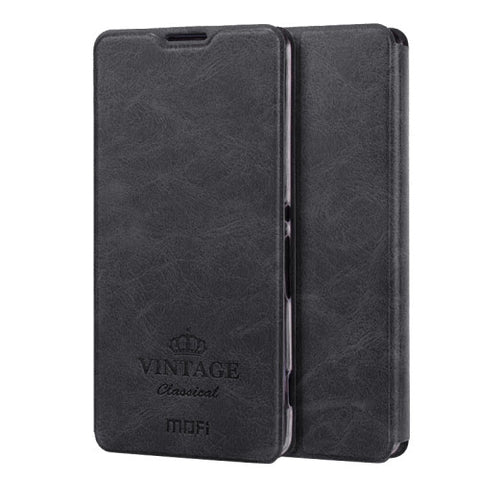 MOFI VINTAGE for Sony Xperia XA Crazy Horse Texture Horizontal Flip Leather Case with Card Slot & Holder(Black)