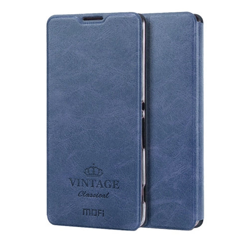 MOFI VINTAGE for Sony Xperia XA Crazy Horse Texture Horizontal Flip Leather Case with Card Slot & Holder(Dark Blue)