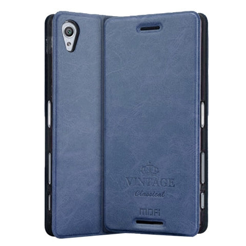 MOFI VINTAGE for Sony Xperia X Performance Crazy Horse Texture Horizontal Flip Leather Case with Card Slot & Holder(Dark Blue)