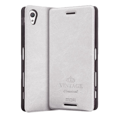 MOFI VINTAGE for Sony Xperia X Performance Crazy Horse Texture Horizontal Flip Leather Case with Card Slot & Holder(White)