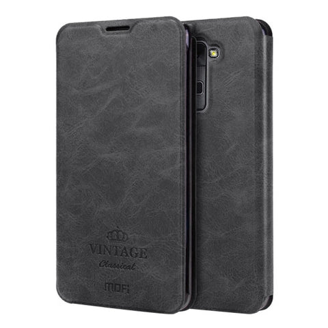 MOFI VINTAGE for LG Stylus 2 / K520 Crazy Horse Texture Horizontal Flip Leather Case with Card Slot & Holder(Black)